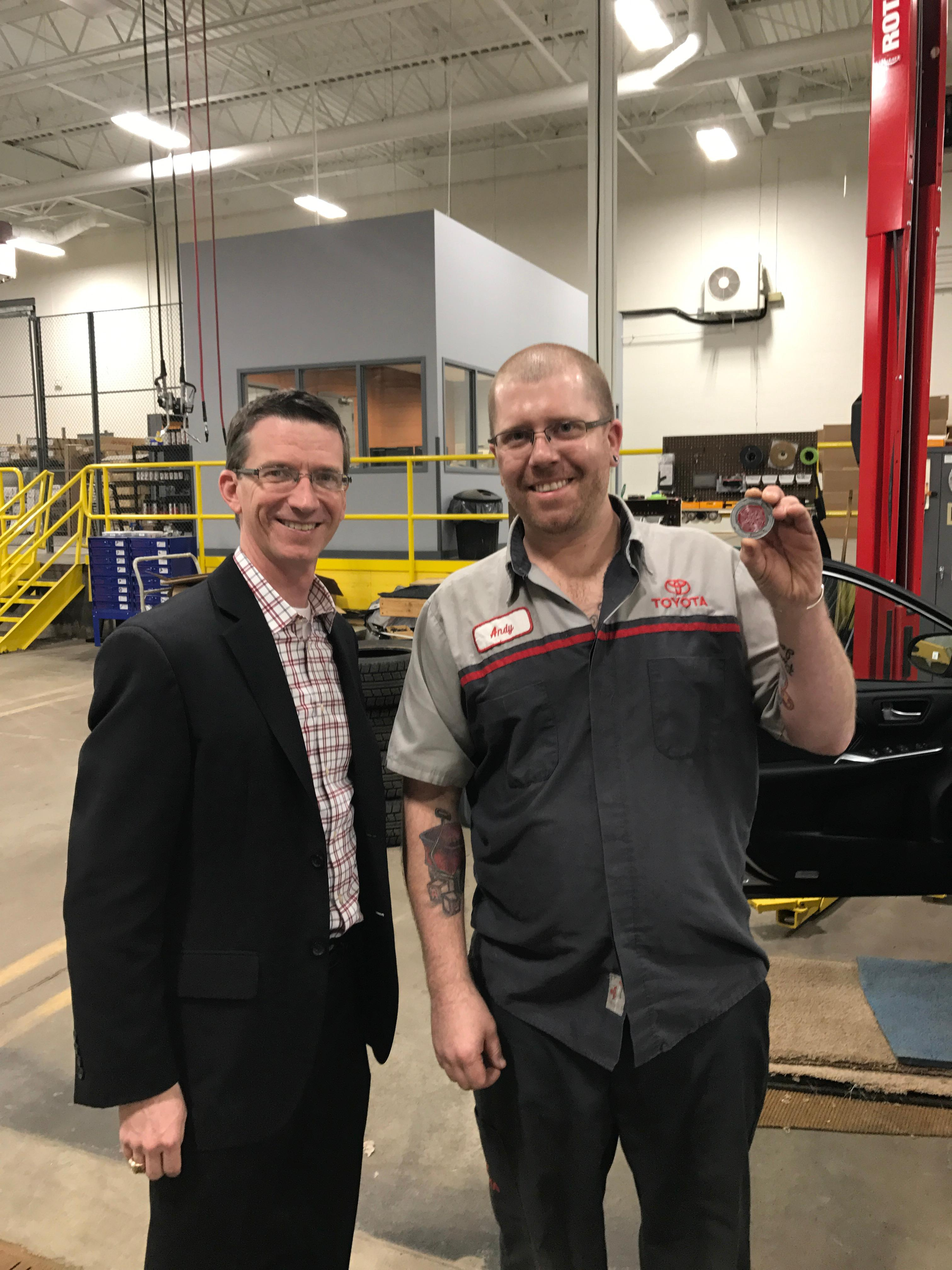Andrew was presented an Insignia Challenge Coin for 2016 for Rudy Luther Toyota