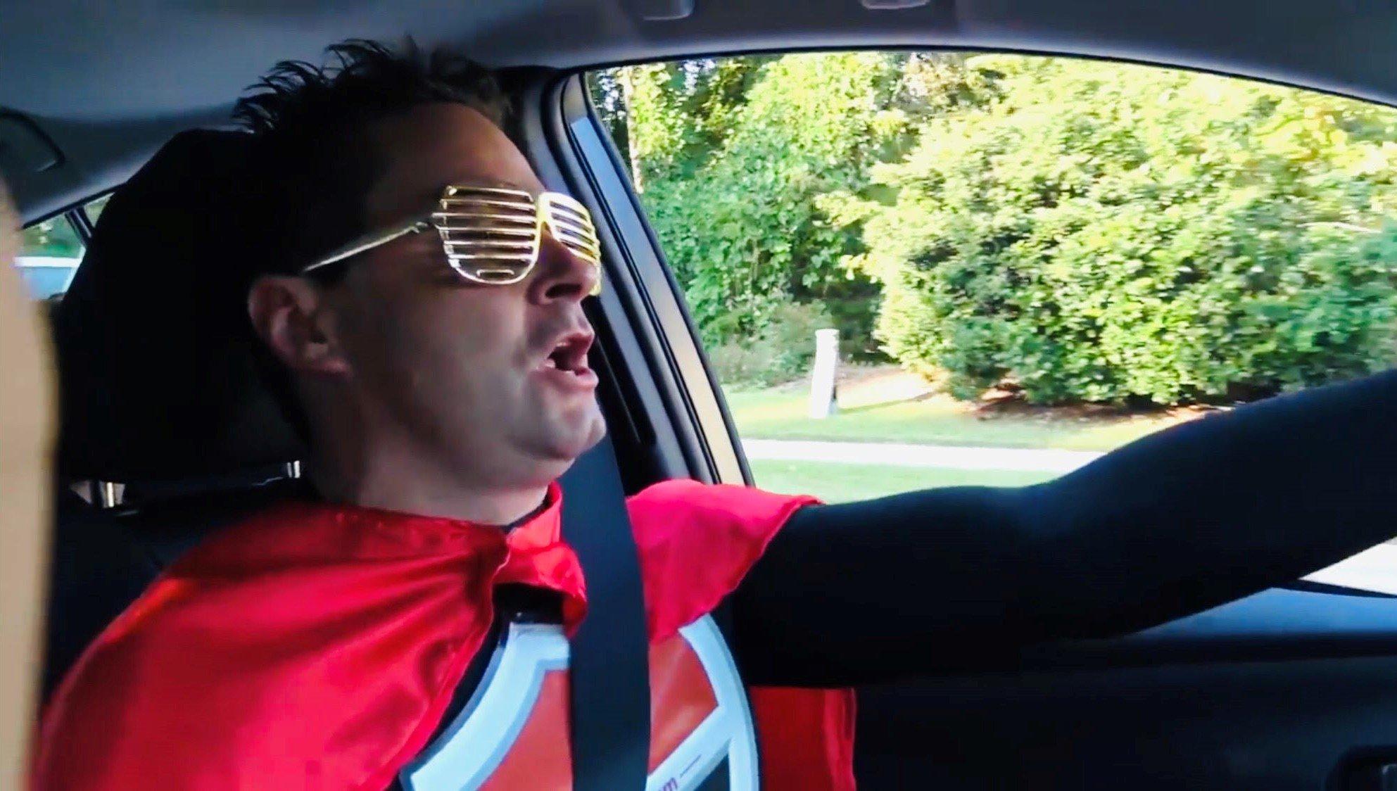 Toyota Jeff dressed as a superhero