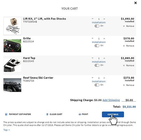 Online accessories shopping cart