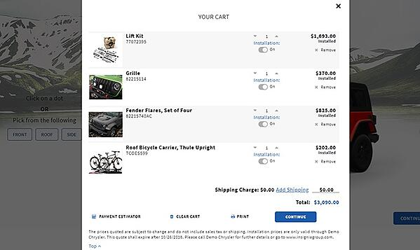 Insignia OnTrack Online Cart