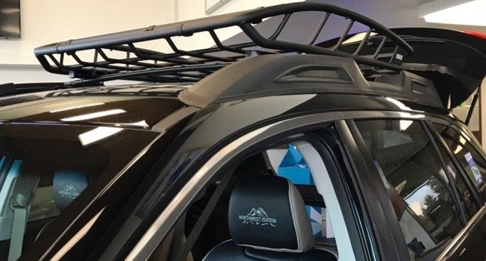 Roof rack on car in the showroom