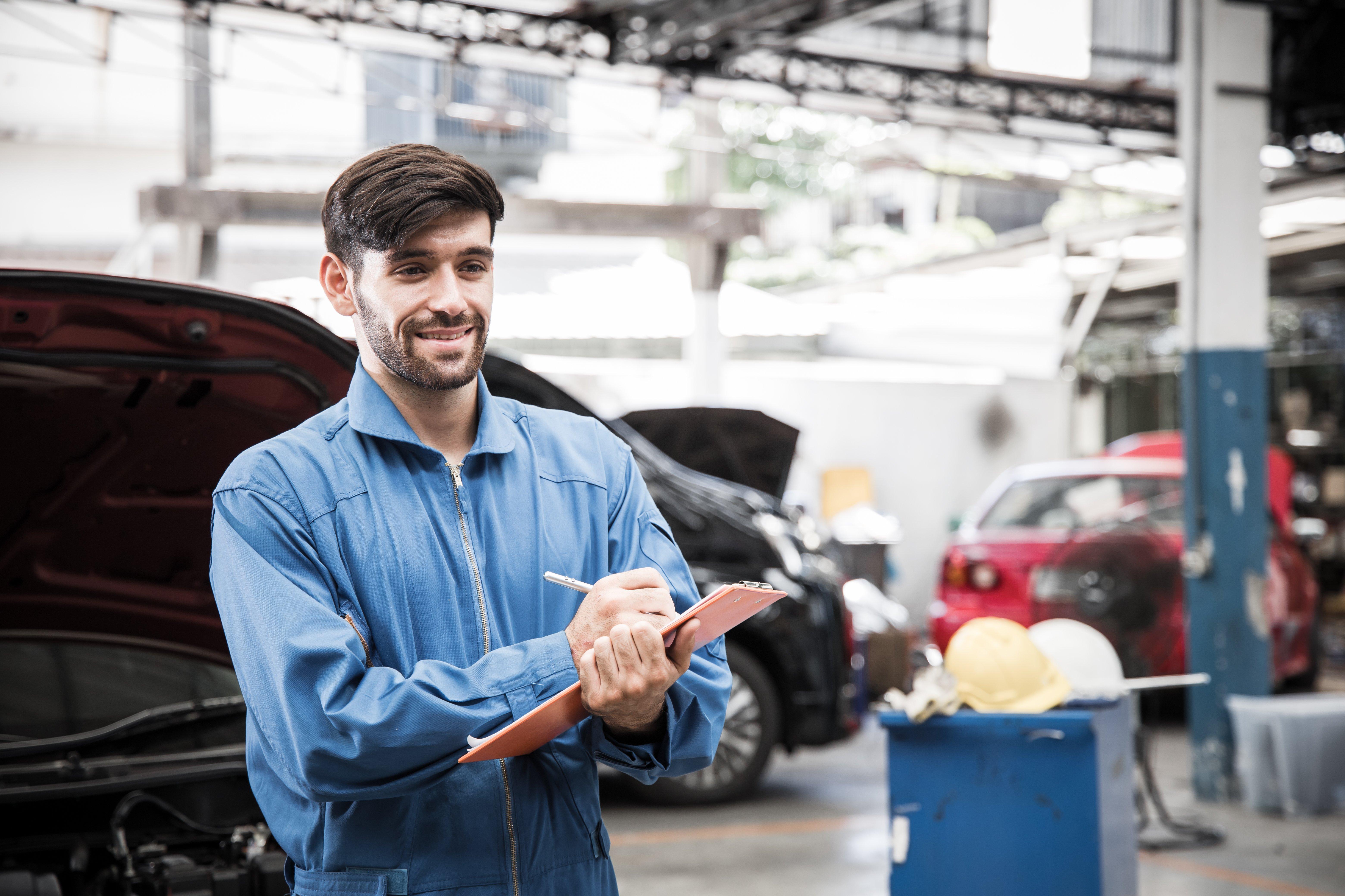 mechanic at service  lane